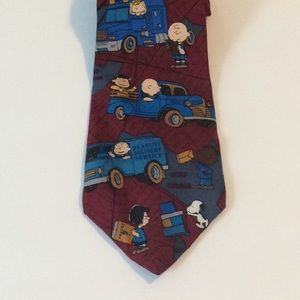 Men's Snoopy Peanuts Neck Tie Delivery Taxi Truck